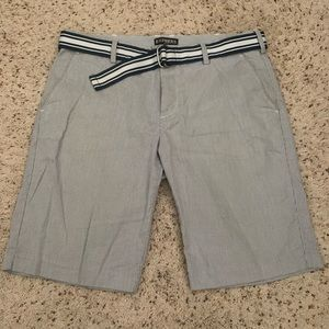 Express Men's Striped Blue/White Shorts